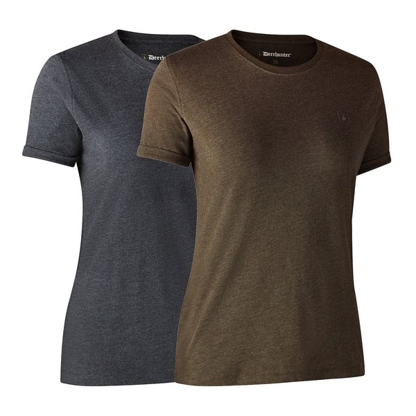 Deerhunter T-Shirt Basic O-Neck 2-Pack braun / grau Damen